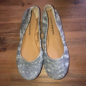 Lucky Brand Size 7 Ballet Flats Blue/Grey NWT